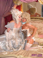 Kim all dressed up as a sultry victorian madame with her sexy Tgirl friend