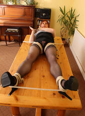 Tgirl Lucimay gets tied to a table so you can admire her