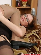 Naughty strap-on armed babe overpowering sissy guy craving to drill his ass